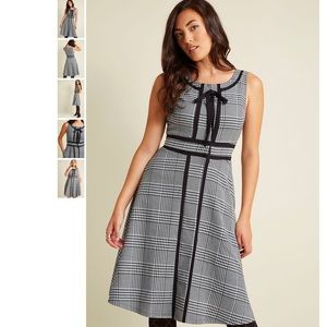 Retro Tailored A-Line Dress with Trim in 1X